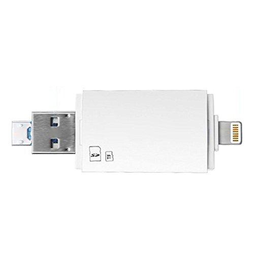 Nrpfell USB3.0 3 in 1 Flash-Laufwerk zu SD-Kartenleser USB, Speicher TF-Karten-Viewer-Adapter, Unterstuetzung SD Micro-SDXC/SDHC UHS-I Karte 3 in 1 (Weiss)