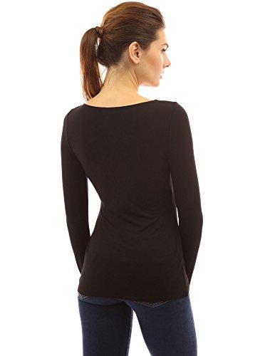 PattyBoutik femmes v cou haute zip bas de l'ourlet wrap blouse Noir