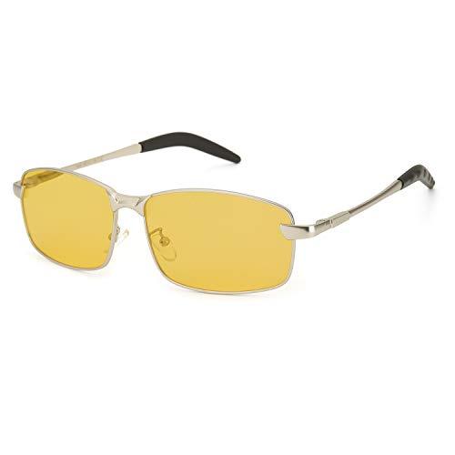 OSVAW HD Night Vision Driving Brille für Männer polarisiert, 100% UVA UVB-Schutz reduziert die Belastung der Augen Mode Brille (Silbergelb 1)