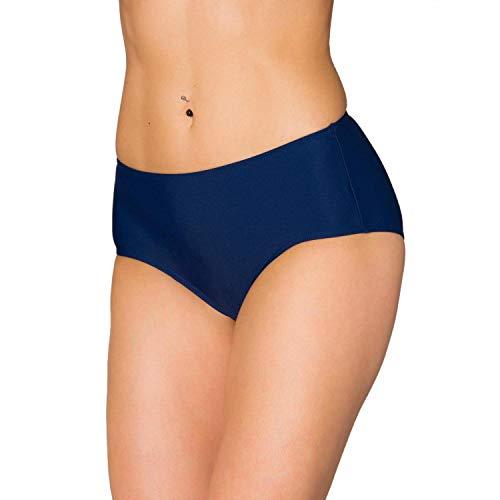 Aquarti Damen Bikinihose mit Mittelhohem Bund, Farbe: Dunkelblau, Größe: 42