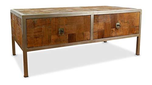 Couchtisch aus Metall und Teakholz | Sofatisch im Industrial Design | Asiatische Möbel der Marke Asia Wohnstudio | Couchtisch aus Massivholz | Designer Tisch aus Java | Teakholzmöbel (Handarbeit)