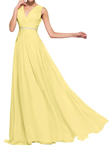 Missdressy Damen VAusschnitt ALinie Chiffon Promkleid Abendkleid Gelb