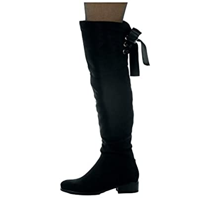 Angkorly - Women's Fashion Shoes Thigh Boot - Cavalier - Soft - Satin lace Block high Heel 3.5 cm 3