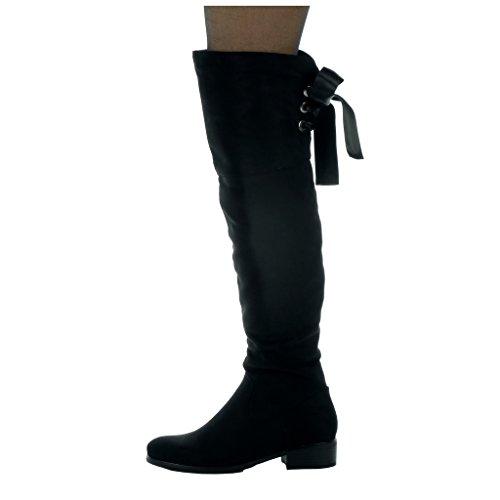 Angkorly - Scarpe da Moda Stivali Alti cavalier flessibile donna Lacci in raso Tacco a blocco tacco alto 3.5 CM - soletta Foderato di Pelliccia Nero
