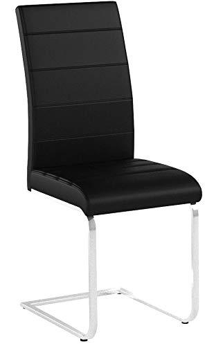 TecTake Esszimmerstühle Schwingstuhl Set | Kunstleder - Diverse Farben - (4er Set schwarz | Nr. 402553)