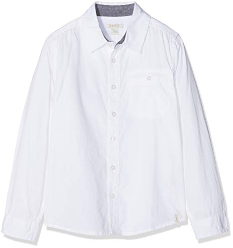 ESPRIT KIDS Jungen Hemd Woven Shirt Weiß (White 010), 128 (Herstellergröße: XS)