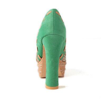 LvYuan Femme Sandales Similicuir Printemps Eté Paillette Gros Talon Argent Vert Plat Green