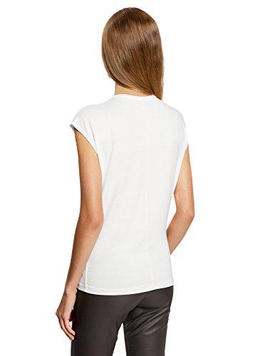 oodji Ultra Donna T-Shirt con Scollo Rotondo e Ricami Decorativi Bianco (1229P)