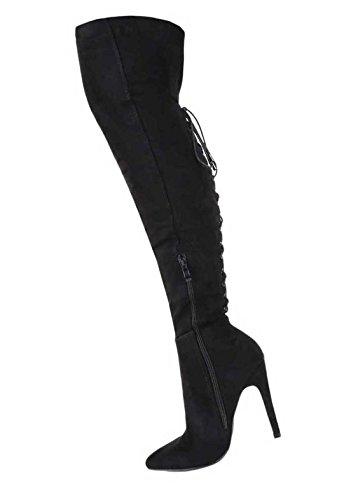Damen Overknee Stiefel Schuhe High Heels Schwarz 35 36 37 38 39 40 41 Schwarz