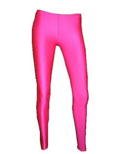 Neon Pink Lycra Leggings   Hot pink, stretchy leggings that are made in England. Available in sizes from small to XX-large. Highly rated.