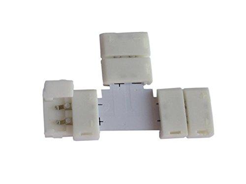 """Connettore angolare a forma di """"T"""" 2 pin di mm.10 per striscia led 5050-5630, chiusura a scatto libera di saldatura"""