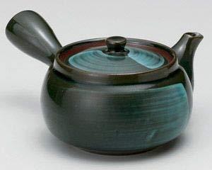 Yamakiikai Japonais Mino-Yaki Céramique Kyusu?Théière en Vernis Bleu Foncé avec Passoire en Acier Inoxydable 360cc 388-196