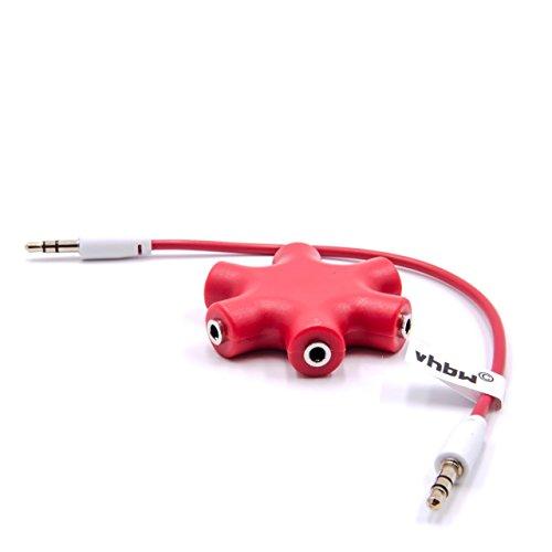 vhbw Audio Splitter, Klinkenverteiler 5-fach rot inkl Klinken-Kabel für Kopfhörer, Smartphone, CD / DVD-Player, MP3-Player