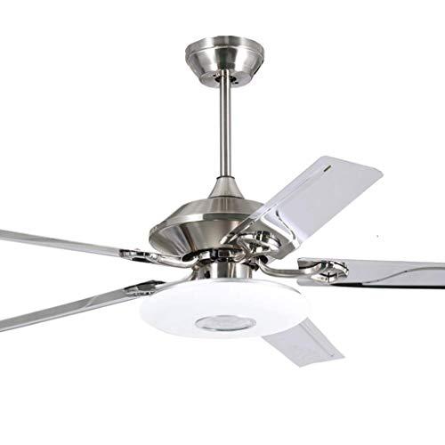 Deckenventilatoren mit LED Lampe, 5 Stahlmesser und Fernbedienung Licht für Hauptdekor Silber, 110...