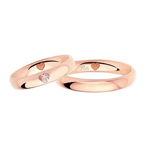 Fedi in oro rosa 18kt con cuori e diamanti