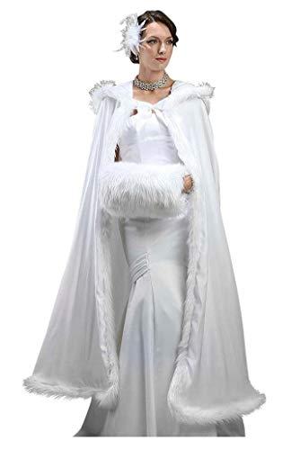 ShineGown Damen Kunstpelz Winter Lange Hochzeit Umhang Mantel Jacke Bridal Wraps Cape mit Freihand Muff
