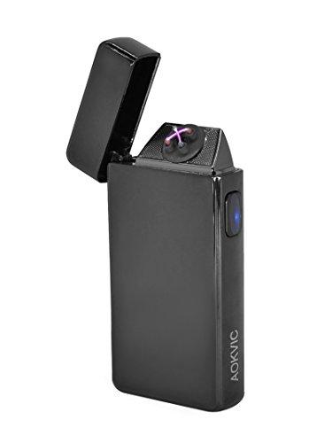 Aokvic Neues USB elektronisches Feuerzeug aufladbar lichtbogen (Schwarz)