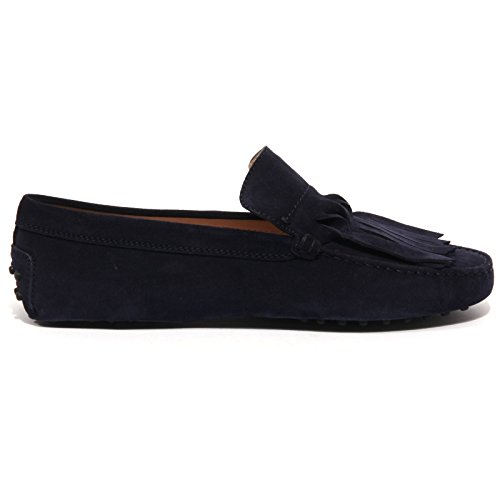 B1547 mocassino donna TOD'S GOMMINI FRANGIA ORIGAMI blu loafer shoes women Blu