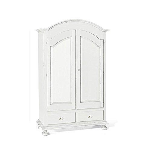 Inhouse srls armadio a cappello tondo, arte povera, in legno massello e mdf con rifinitura in bianco opaco - mis. 125 x 61 x 200