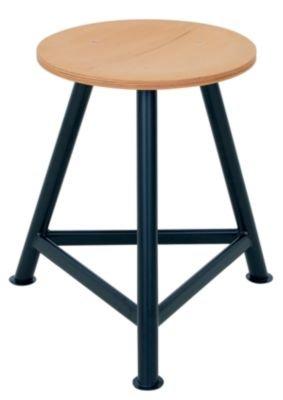 Werkstatthocker, Sitz aus Buchenschichtholz - dreibeinig Sitzhöhe 500 mm - Arbeitshocker Hocker Sitzhocker Werkstatthocker Bandstahlhocker