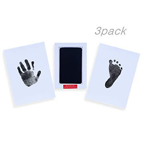 Locisne 3Pack Neugeborenes Baby Babyprints Safe Handprint oder Footprint Clean-Touch Schwarz Ink Pad, Total 6 Verwendungen für Familien Andenken Baby Shower Geschenk und Registry