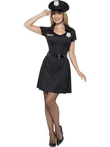 Halloweenia - Damen Frauen Spezial Polizistinnen Polizei Kostüm, kurzes Kleid mit Hut und Gürtel, perfekt für Karneval, Fasching und Fastnacht, XS, Schwarz