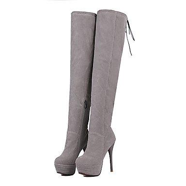 JOE Bottes pour dames printemps / automne / hiver chaussures & correspondant sacs simili parti & ZipperBlack talon aiguille soir / Casual / jaune / rose GRAY
