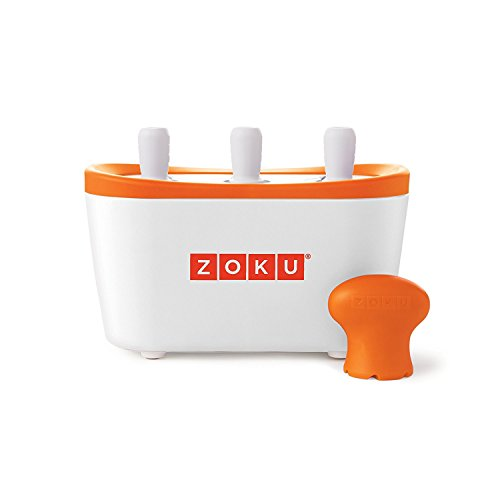 Zoku ZK101 máquina para helados - Heladora (Naranja, Color blanco, 21 cm, 11,4 cm, 12 cm)     - Non electric lolly maker   - safe for children and makes lollies in under 10 minutes   - Makes 3 lollies at a time   - and will make 9 before the base nee...