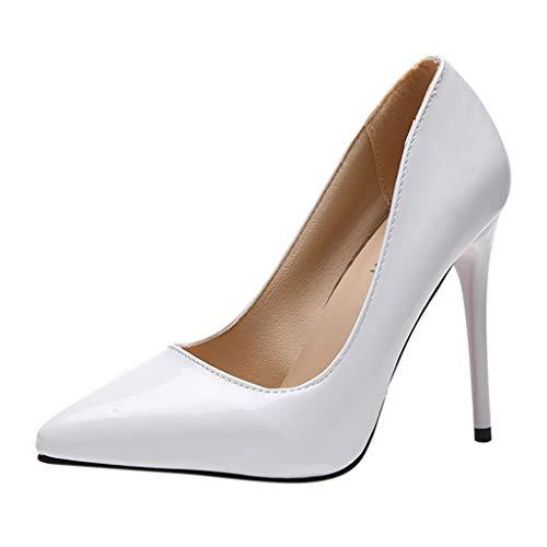 NMERWT Damen High Heels Mode Spitz Solide Helle Farbe Flacher Mund Wies Einzelne High Heels Single Business mit hohen Absätzen Pointed Single Stiletto Schuhe -