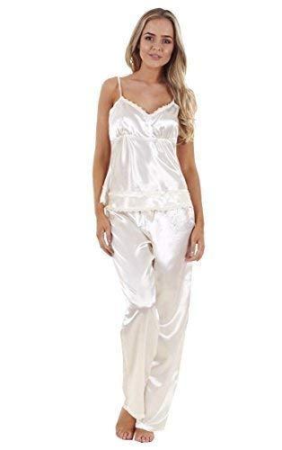 b69986bc3d Ladies Satin Pyjama Set 3 Piece Set Lace Vest Shorts Bottoms Pants Womens  PJ s Nightwear (