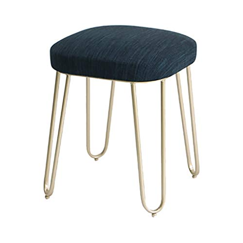 HJCA Wohnzimmer Hocker Europäischen Dressing Hocker Einfache Garten Make-Up Hocker Mode Amerikanischen Schmiedeeisen Couchtisch Hocker (farbe: Blau Gesicht-Gold Beine) Multifunktionaler bequemer Stuhl -