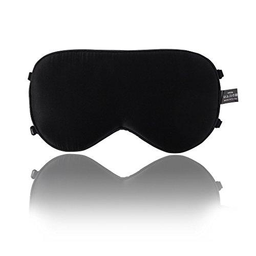 sourcingmap® Verstellbarer Bügel Naturseide Schlafmaske Augenbinde Augenmaske Schwarz 2 Bände de