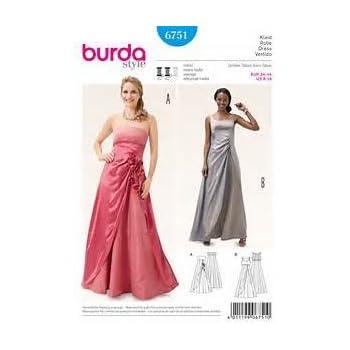 Burda Damen Schnittmuster 6751 Kleid Abendkleid Weiß: Amazon.de ...