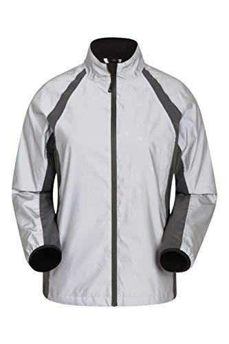 Mountain warehouse shine, giacca catarifrangente a 360° da donna - impermeabile, con scollo sul retro e zip ascellari, per ciclismo, corsa, campeggio e trekking metallizzato 46