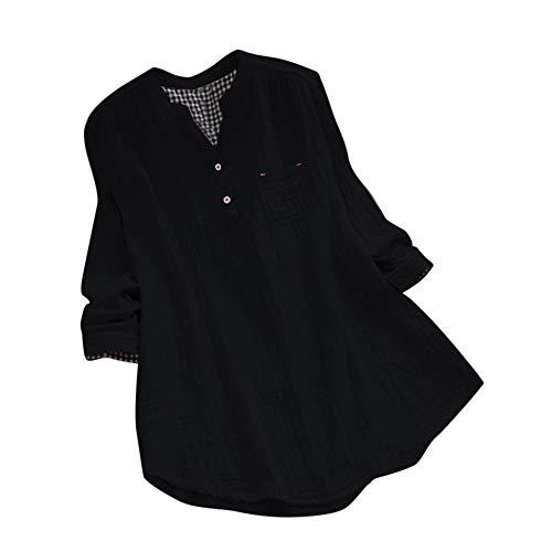Taschen Kleid Langarm Baumwolle Leinen Gestreifte Tageskleider ()