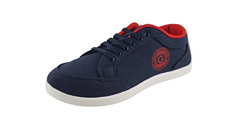 Globalite Men's Light Navy Red PU canvas shoes -UK 10 (GSC0431)  available at amazon for Rs.299