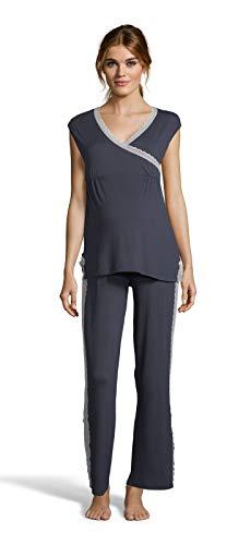 Blau-x-large Kurz (LAMAZE Intimates Damen Schwangerschafts-Pyjama-Set mit kurzen Ärmeln und elastischer Taille - Blau - X-Large)