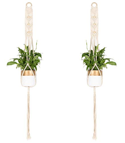TENSKY Pflanzenaufhänger, hängende Blumentopfhalter für drinnen und draußen, hängende Pflanzkörbe, Heimwanddekoration, Baumwollseil, 4 Beine, 109,2 cm