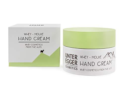 Handcreme von Unteregger Cosmetics - Natur-Kosmetik mit reiner Molke für Männer und Frauen I Pflege für trockene und rissige Hände | Natürliche Feuchtigkeits-Creme I Parfümfrei I 50 ml