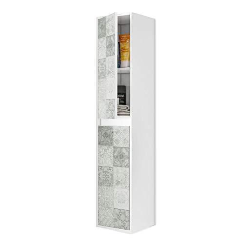 ARKITMOBEL 305074BO - Mueble Lavabo con Estampado de baldosas, Columna de baño Colgante 2 Puertas Acabado en Color Blanco Brillo y Arlo (Mosaico hidráulico), Medidas: 30 cm x 140 cm x 25,5 cm de fondo