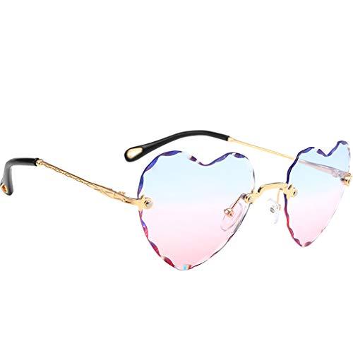 Hellery Herz Sonnenbrille Sunglasses perfekt für Outdoor-Aktivitäten oder Party - Blau Rosa