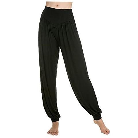 Aivtalk-Sarouels Pantalon Yoga Bouffant Modal pour Femme -Bloomer Elastique Extensible - Harem Pants Danse Pilates Sport-Noir-L