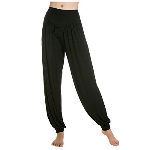 Aivtalk-Sarouels Pantalon Yoga Bouffant Modal pour Femme -Bloomer Elastique Extensible - Harem Pants Danse Pilates Sport-Noir-XL