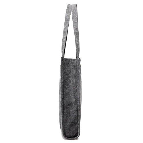 Le signore della tela di canapa sacche di acquisto di spalla di grande capacità Grey