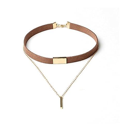 Choker kette Gold Velvet Junshan Halskette halsketten set (Braun) (Weiß Damen Strass-herz-t-shirt)