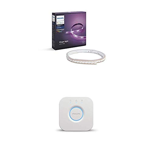 Philips Lighting Hue Bridge 2.0 Controllo del Sistema + Hue Striscia LED, Bianco, 2 m [Classe di efficienza energetica A]