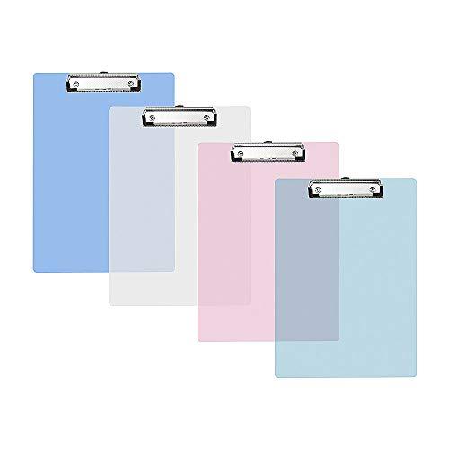 Vordas 4 Pezzi Portablocco a5 con Pinza Trasparente, Ideale per il Lavoro Quotidiano, 4 Colori, 230 * 160 mm