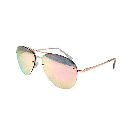 ASVP Shop® Aviator Sunglasses Men's Ladies Fashion 80s Retro Style Designer Shades UV400 Lens Unisex (Rose Gold Mirror)