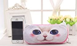 Case for Pencils & Supplies, 3D, Cat, Pink & White