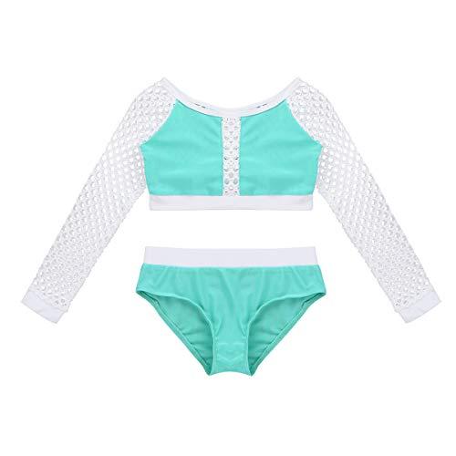 DPois 2 Piezas Traje de Baño Baile Danza para Niñas Conjunto de Camisa Manga Larga + Pantalones Cortos...